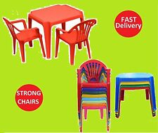 KIDS CHILDRENS PLASTIC TABLE AND CHAIRS SET NURSERY INDOOR OUTDOOR GARDEN CHAIRS