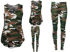 NEW WOMENS CAMOUFLAGE ARMY PRINT SLEEVELESS VEST TOP LADIES LEGGINGS.PLUS SIZE.