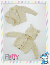 Knit kit:baby fluffy cardi with or without hood with ears, incs buttons. 5 sizes