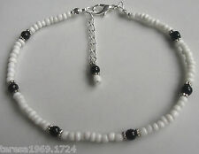 Stretch hand made white black glass pearl beaded anklet ankle bracelet beach