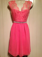 ASOS Elise Ryan Pink Lace Open Back Occasion Party Dress Size 8 10 12 14 RRP £52