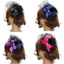 Lady Fascinator Pillbox Bowknot Hat Feather Lace Hair Clip
