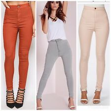 WOMENS HIGH WAISTED STRETCHY SKINNY FIT JEANS LADIES JEGGINGS PANTS 8 10 12 14