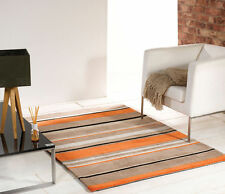 Modern Broad Stripe Handtufted Rug Orange