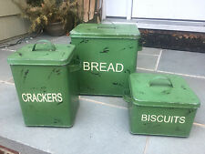 Set 3 Tuscan Farmhouse/French Country Canisters Kitchen Canisters Decor Green