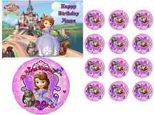 EDIBLE CAKE IMAGE SOFIA THE FIRST ICING SHEET PARTY TOPPER CUPCAKES DECORATION