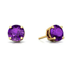 Amethyst Round Stud Earrings 14Kt Yellow Gold
