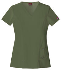 Scrubs Dickies Xtreme Stretch V- Neck Top 82851 Olive WE SHIP FREE