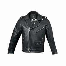 New Boys Real Leather Black Biker Style Jacket Zip Front Coat Buckle All Sizes