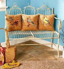 Birdcage Bench White Antique Finnish Indoor Outdoor Or Bird Themed Pillows New