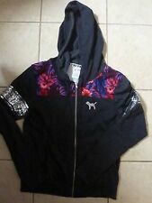 VICTORIAS SECRET PINK BLING BLING SEQUIN FLORAL FULL ZIP DOG HOODIE OR PANTS NWT