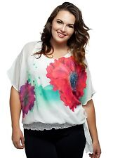 Stylzoo Women's Plus Size Floral Batwing Blouse with Built In Cami
