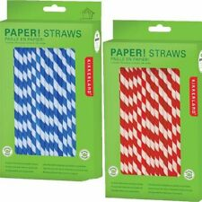 NEW Kikkerland 144 Retro Paper Straws Red or Blue Stripe or Red Dot Drinking