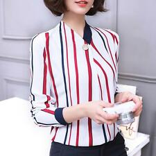 Fashion Ladies Striped Long Sleeve Casual Chiffon Blouse Spring OL Shirt Tops A+