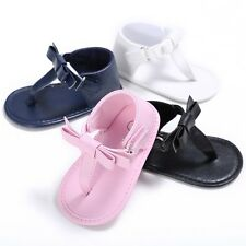 New Summer Baby Kids Girls PU Leather Bowknot Flip-flops Sandal Shoes Slippers