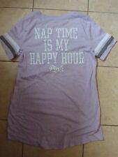 "VICTORIAS SECRET PINK""PINK""NAP TIME IS MY HAPPY HOUR"" SCOOPNECK SLEEP TSHIRT NWT"