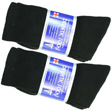3,6 or 12 Pairs Diabetic Circulatory Socks Mens Crew Cotton Size 9-15 Long BLACK