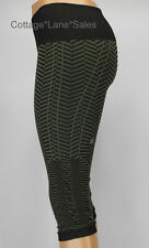 NEW LULULEMON In The Flow Crops 2 4 6 8 Fatigue Green Black Chevron NWT