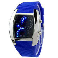 HOT SALE RPM Turbo Blue Flash LED Mens Sports Car Meter Dial Watch Stylish