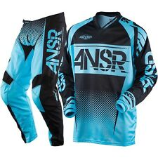 NEW 2017 ANSWER RACING SYNCRON PANT JERSEY GEAR COMBO BLUE BLACK + FREE NAME