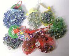 Vintage 1980s Glass Marbles in a Net Bag Metallic Finishes Assorted Colours