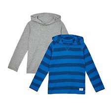 Bluezoo Kids Pack Of Two Boys' Blue And Grey Striped Hooded Tops From Debenhams