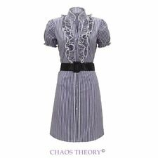 Ladies New Womans Flared Polka Vintage Belted Short Sleeve Party Top Dress 8-14