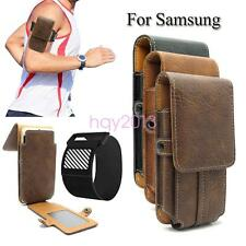 Retro Premium Leather Multi-function Belt Case Sport Armband Cover for Samsung