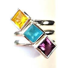 (SIZE 5,6,7,8,9)  3 STACK RINGS CZ Cubes Purple Yellow Blue .925 STERLING SILVER