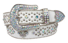 Snap On Western Cowgirl Alligator Rhinestone Fleur De Lis Studded Leather Belt 2
