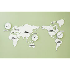 Wood World Time Non Ticking Silent Wall Clock White Gray Decor World Map Silent