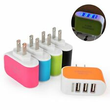 Hot Sales Travel Phone Charger AC LED Power 3-Port USB Charger Adapter Light