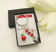 Teacher Red Apple Keyring..School Leavers. Thank You.End Of Term Gift