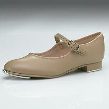 Dance Shoes Tap Mary Jane Tan Student Youth Adult Capezio Velcro Buckle