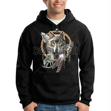 Dream Catcher Wolf Animal Spirit Wolves Feather Hooded Sweatshirt Hoodie