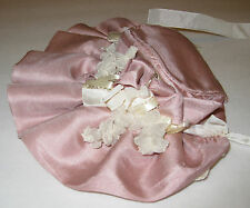 Vintage Doll Bonnet Pink Silk with antique color ribbon and lace