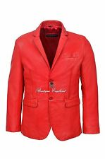 New Men's Stylish Milano 2 button Classic Blazer Red 100 % Leather Jacket Coat