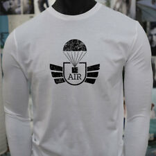 AIRBORNE PARACHUTE MILITARY ARMY SPECIAL FORCES Mens White Long Sleeve T-Shirt