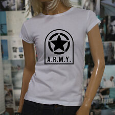 ARMY STAR PATCH NAVY ARMED FORCES MILITARY MARINE Womens White T-Shirt