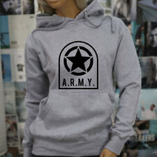 ARMY STAR PATCH NAVY ARMED FORCES MILITARY MARINE Womens Gray Hoodie