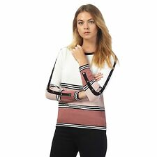 The Collection Womens Pink And White Striped Button Detail Petite Jumper
