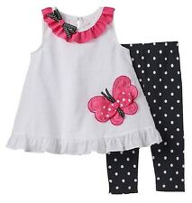 Rare Editions Girls White Black Fuchsia Butterfly Top + Leggings 12 18 24 Months