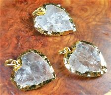 Heart Necklace - Raw Quartz Crystal Pendant - Gold Jewelry (Y9) Clear Gemstone