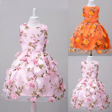 Flowers Girls Princess Floral Dress Party Wedding Bridesmaid Pageant Formal Gown