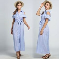 Women Off Shoulder Ruffles Striped Button Down Waistband Full-Length Shirt Dress