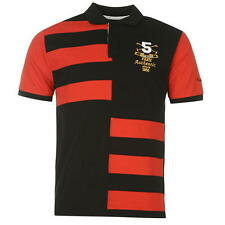 Pierre Cardin Mens Contrasting Stripe Polo Shirt Black/Red New With Tags