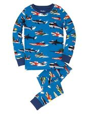 HATLEY Boys Monster Boats Cotton Long Sleeve Pyjamas PJ's Set - Blue BNWT NEW
