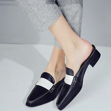 Womens Color Stitching Low Heel Slingbacks Leather Loafers Casual Fashion Shoes