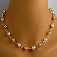 White Glass Pearl Necklace with silver/gold Plated Metal Filigree Beads