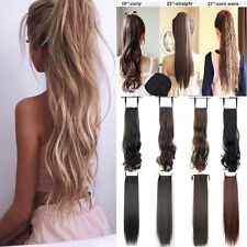 Drawstring Ponytail Clip in Pony Tail Hair Extensions hairpiece New curly Wavy